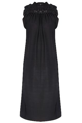 Black Ruffled Sequinned Shift Dress by Anuj Sharma