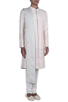Powder Pink Embroidered Sherwani Set by Anju Agarwal