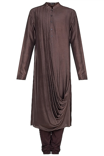 Brown Draped Kurta With Churidaar Pants by Anju Agarwal