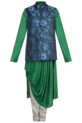 Green & Blue Printed Kurta Set With Jacket by Anju Agarwal