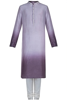 Mauve & Purple Embroidered Ombre Kurta With Churidaar Pants by Anju Agarwal