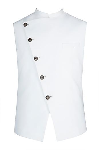 White Asymmetric Nehru Jacket by Anju Agarwal