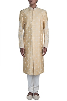 Beige & Cream Embroidered Sherwani Set by Anju Agarwal