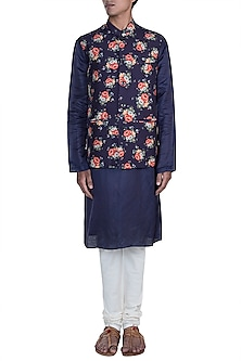 Purple Printed Jacket With Kurta Set by Anju Agarwal