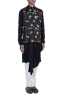 Black Kurta Set With Printed Jacket by Anju Agarwal