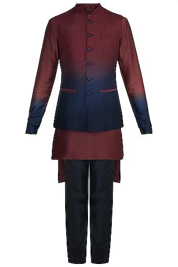 Maroon & Blue Shaded Kurta Set With Jacket by Anju Agarwal