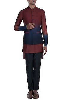 Maroon & Blue Shaded Kurta Set With Jacket by Anju Agarwal