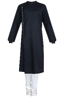 Black Kurta Set With Side Buttons by Anju Agarwal