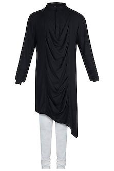 Matt Black Cowl Neck Kurta With Churidar Pants by Anju Agarwal