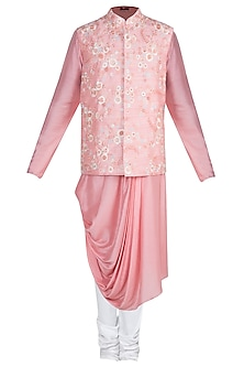 Pink Kurta Set With Embroidered Jacket by Anju Agarwal