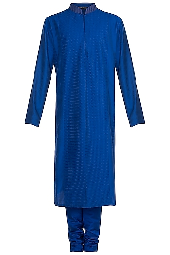 Royal Blue Pintuck Kurta With Churidar Pants by Anju Agarwal
