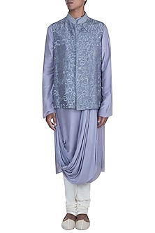 Light Grey Embroidered Jacket With Kurta Set by Anju Agarwal