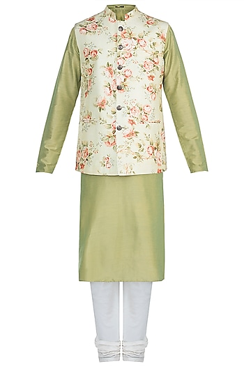 Green Kurta Set With Printed Jacket by Anju Agarwal