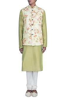 Green Kurta Set With Printed Jacket by Anju Agarwal