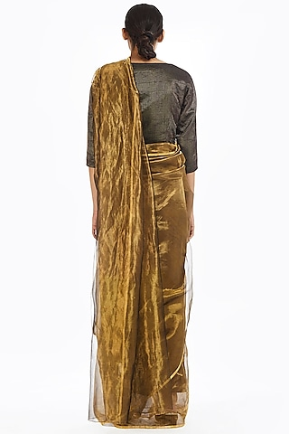Gold Metallic Handwoven Saree by Akaaro