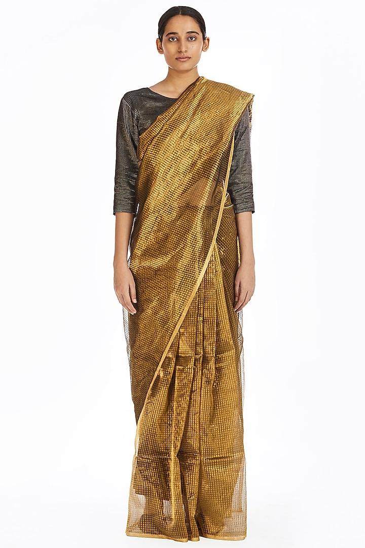 Gold Metallic Handwoven Textured Saree by Akaaro