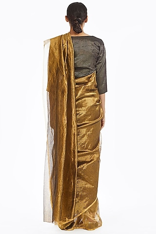 Gold Metallic Handwoven Textured Saree by Akaaro