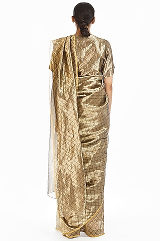 Silver & Gold Handwoven Longline Saree by Akaaro