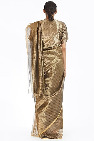 Silver & Gold Metallic Handwoven Saree by Akaaro