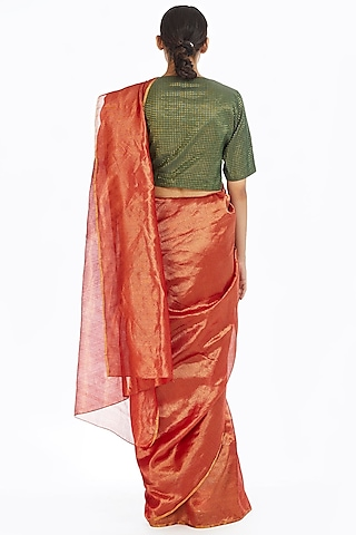 Red Handwoven Chevron Saree by Akaaro