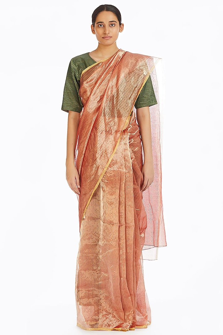 Pink Metallic Handwoven Textured Saree by Akaaro