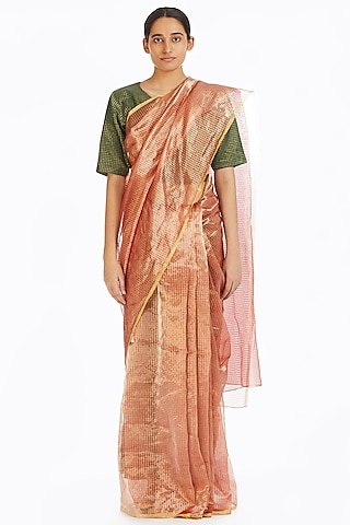 Pink Metallic Handwoven Textured Saree by Akaaro