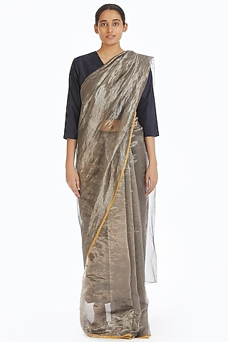 Silver Metallic Handwoven Saree by Akaaro
