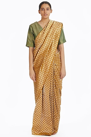 Mustard Handwoven Brocade Saree by Akaaro