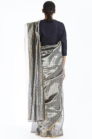 Silver Handwoven Longline Saree by Akaaro