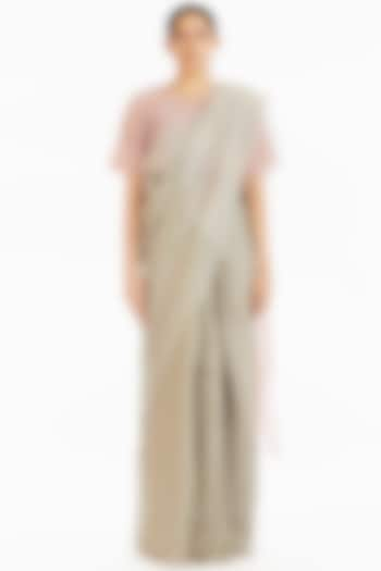 Olive Soft Pink Handwoven Engineered Saree by Akaaro