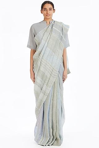 Multi Colored Handwoven Saree With Jamdani Stripes by Akaaro