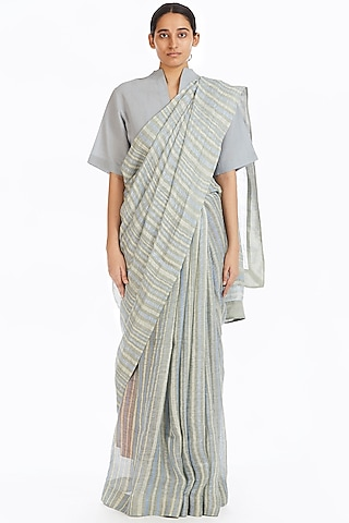 Multi Colored Handwoven Saree With African Stripes by Akaaro
