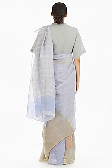 Olive Green & Blue Handwoven Saree With Stripes by Akaaro