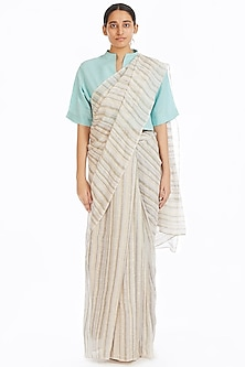 Multi Colored Handwoven Saree With Stripes by Akaaro