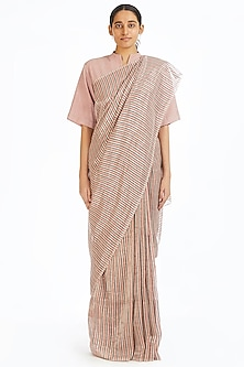 Candy Pink Handwoven Striped Saree by Akaaro