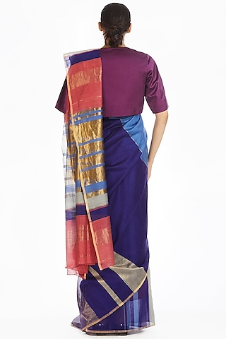 Pink & Purple Handwoven Engineered Saree by Akaaro