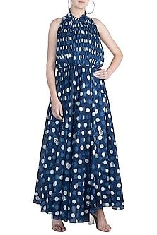 Indigo Blue Embroidered Halter Neck Dress by Akashi