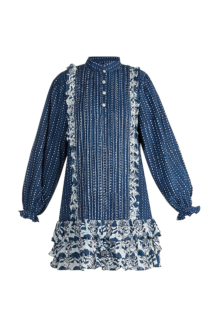 Indigo Blue Embroidered Shirt Dress by Akashi