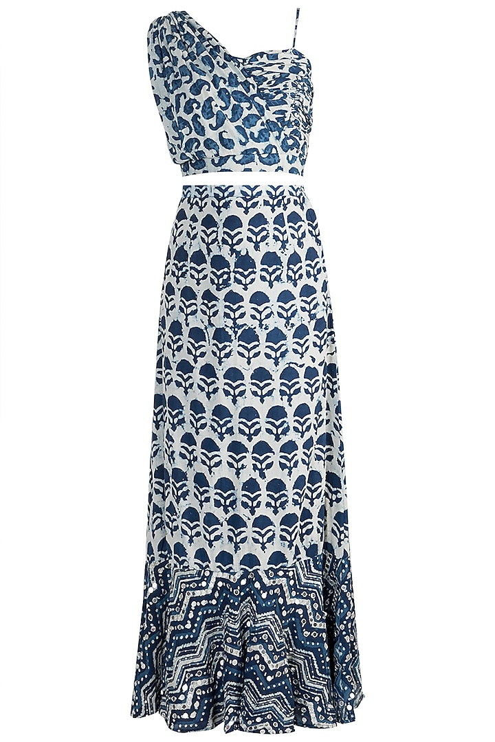 Indigo Blue Embroidered Top With Pleated Skirt by Akashi