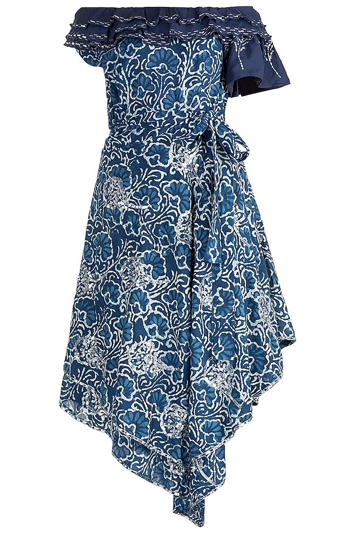 Indigo Blue Embroidered Off Shoulder Dress by Akashi