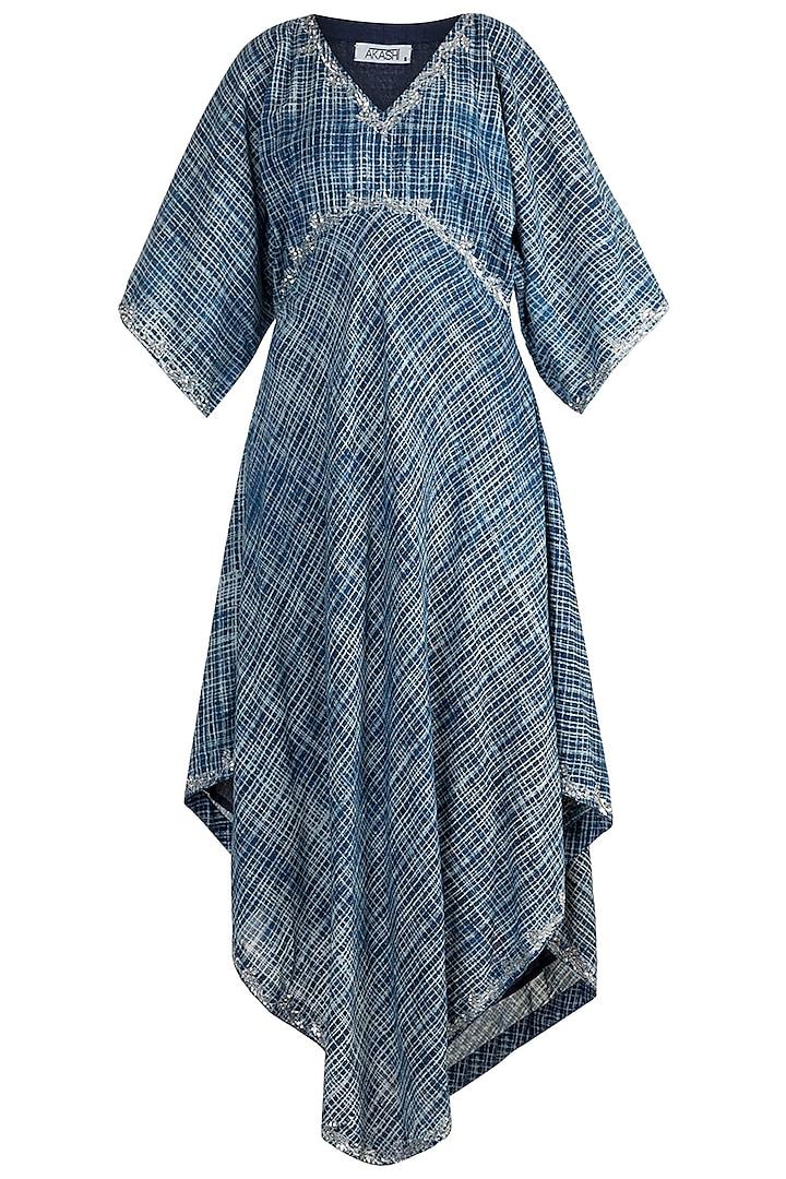 Indigo Blue Embroidered Kaftan by Akashi
