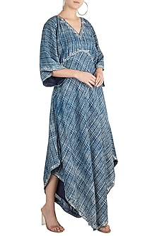 Indigo Blue Embroidered Kaftan by Akashi