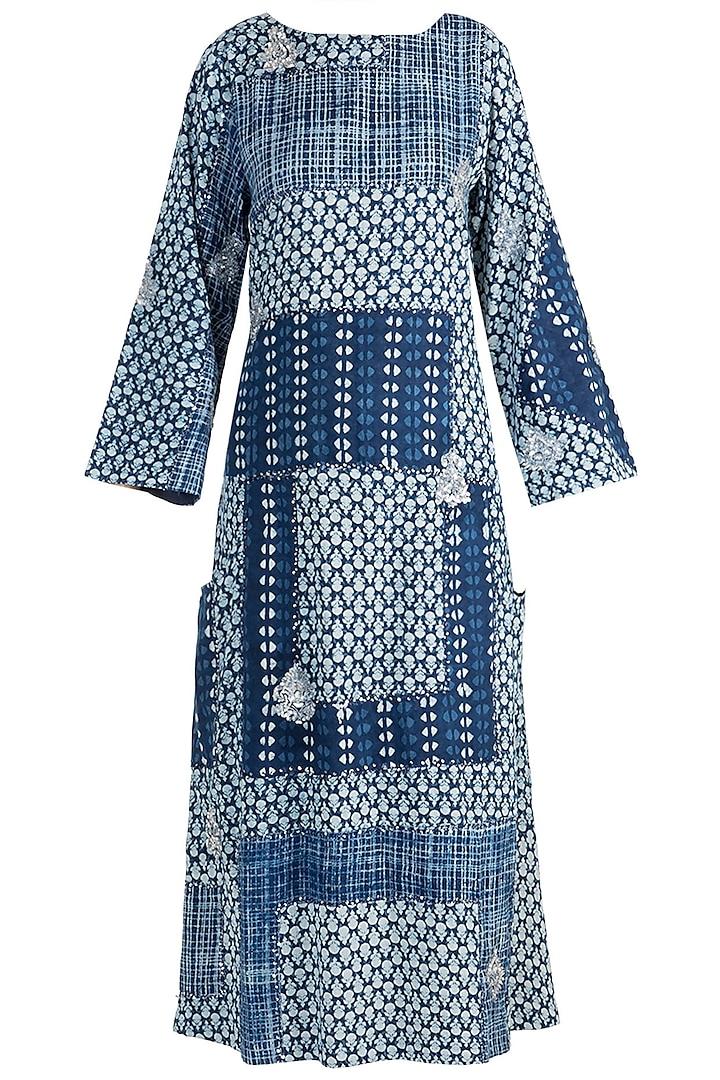 Indigo Blue Embroidered & Patchy Kaftan by Akashi