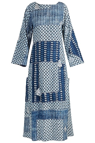 Indigo Blue Embroidered & Patchy Kaftan by Akashi