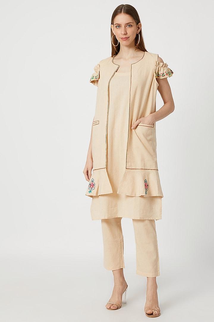 Nude Khadi Kurta Set With Jacket by Akashi