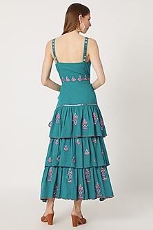 Teal Blue Khadi Cut-Out Dress by Akashi