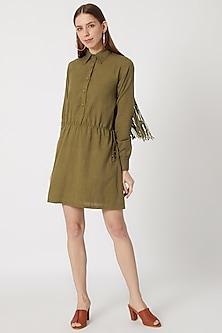 Olive Green Khadi Shirt Dress by Akashi