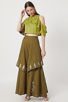 Mehendi Green Top With Layered Pants by Akashi