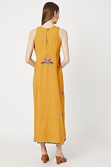 Mustard Yellow Khadi Cotton Dress by Akashi