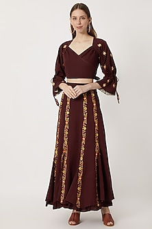 Maroon Wrap Top With Embroidered Skirt by Akashi